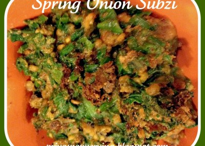 Spring onion Subzi For Blog Hop Wednesday