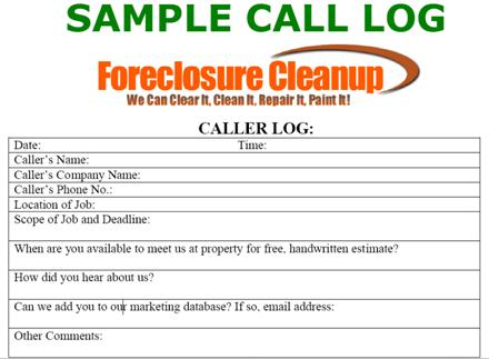 How to Use a Caller Log to Grow Your Foreclosure Cleanup Business - how to create call log template