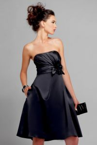 Black Strapless Knee length Sash Floral chiffon Satin ...