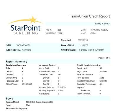 Starpoint Tenant Screening Offers Trans Union Tenant Credit Reports -- Aeiko Mitchell   PRLog