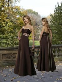 Chocolate Bridesmaid Dress Strapless Floor length Belt ...