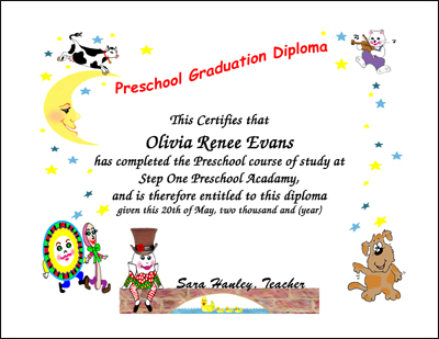 Graduation Certificates Preschool, Kindergarten Graduation - Printable Preschool Diplomas
