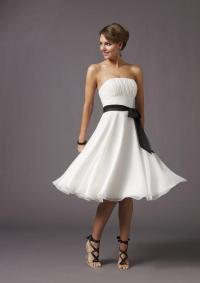 Strapless Knee length Black Sash Chiffon White Bridesmaid ...