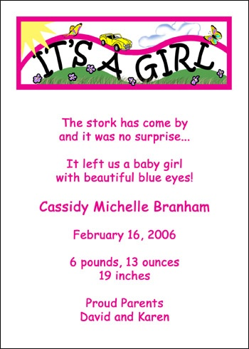 Birth Announcement Cards and Baby Announcements for Announcing Your