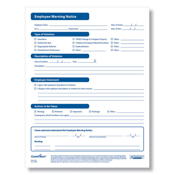 Employee Warning Notice - A0395 - employee notice