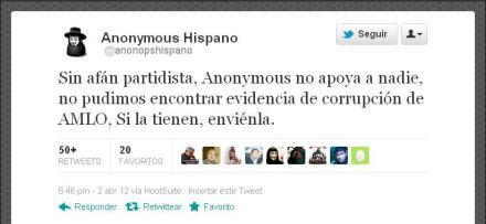El mensaje de Anonymous en Twitter.
