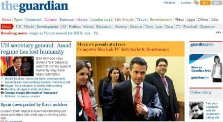 El reportaje de The Guardian sobre Televisa y EPN. Foto: Guardian.co.uk