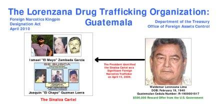 El narcotraficante guatemalteco, Waldemar Lorenzana Lima (der.), es el enlace con el cártel de Sinaloa en Guatemala. Foto: DEA