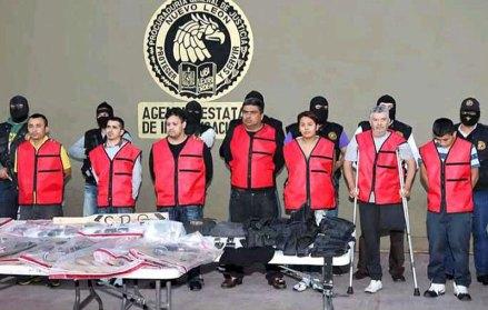 La presentación de los presuntos miembros del CDG. Foto: PGJNL