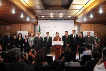 La presentación del gabinete de Rosario Robles. Foto: Sedesol