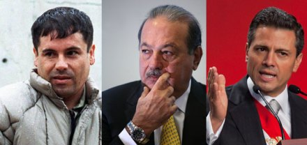 Guzman Loera, Slim y Peña. Competencia en Forbes. Foto: AP / O. Gómez / M. Dimayuga