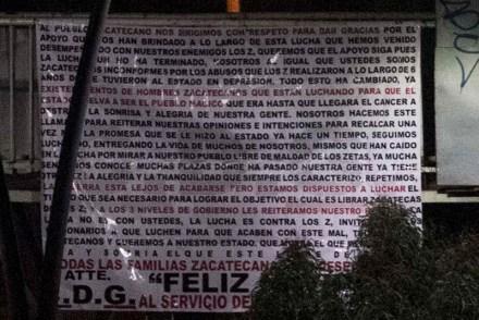 Una de las narcomantas. Foto: Leonardo Garza Treviño.