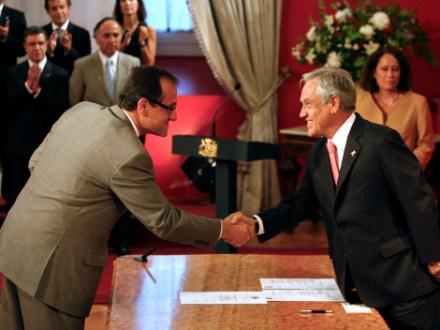 El ministro de Educación, Harald Beyer; y el presidente chileno, Sebastián Piñera. Foto: AP