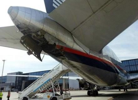 El avión accidentado en Madrid. Foto: Tomada de Twitter.