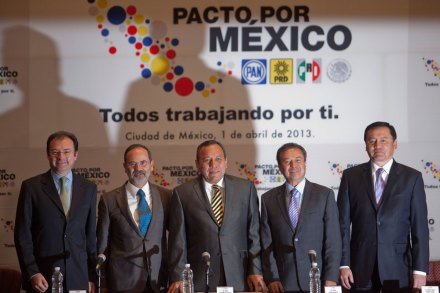 Videgaray, Madero, Zambrano, Camacho y Osorio. Foto: Miguel Dimayuga