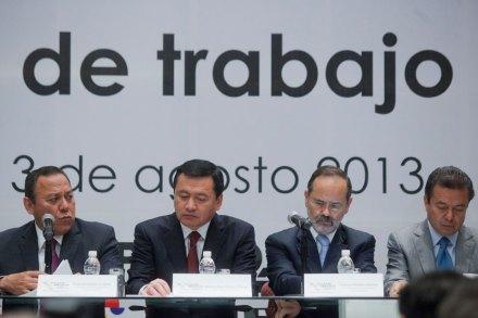 Zambrano, Osorio, Madero y Camacho. Mesa de trabajo del Pacto por México. Foto: Octavio Gómez