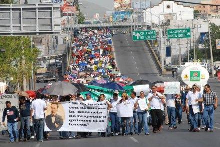 La movilización magisterial en Chihuahua. Foto: Valentin Hierro
