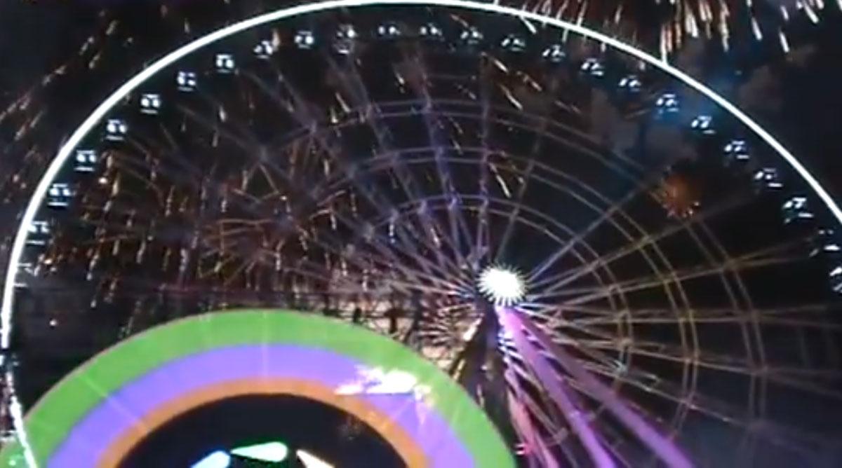 La inauguración de la rueda de la fortuna en Puebla. Foto: Especial