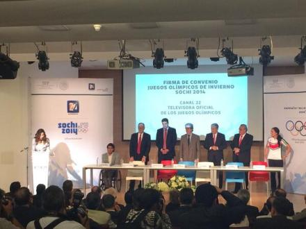 La firma del convenio entre América Móvil y Canal 22. Foto: Canal 22