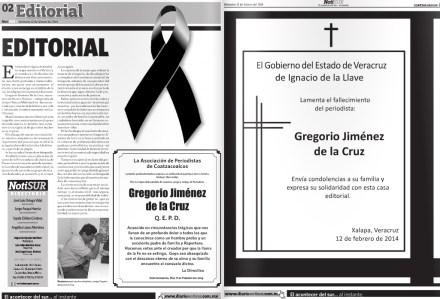 """El editorial de Notisur sobre la muerte de """"Goyo"""" junto a una esquela del gobierno de Veracruz."""