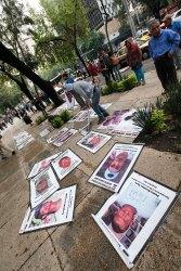 Familiares de desaparecidos protestan en el Senado. Foto: Germán Canseco