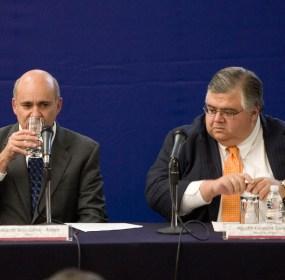 El actual director del Inegi, Eduardo Sojo y el gobernador de Banxico, Agustín Carstens. Foto: Octavio Gómez
