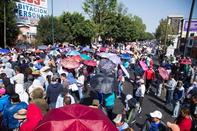 Maestros protestan en Morelia. Foto: Enrique Castro