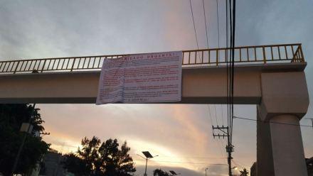 Narcomanta en Chilpancingo. Foto: Especial