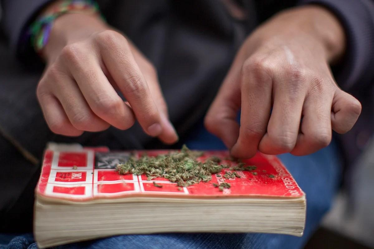 Jóvenes piden legalizar la mariguana en el Senado. Foto: Miguel Dimayuga