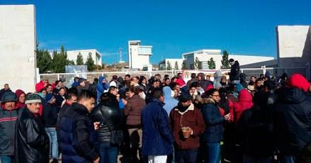 Trabajadores protestan en la Ciudad Administrativa de Zacatecas. Foto: Tomada de Twitter