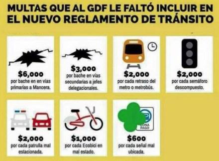 Una de las imágenes que circula en contra del nuevo reglamento de tránsito.