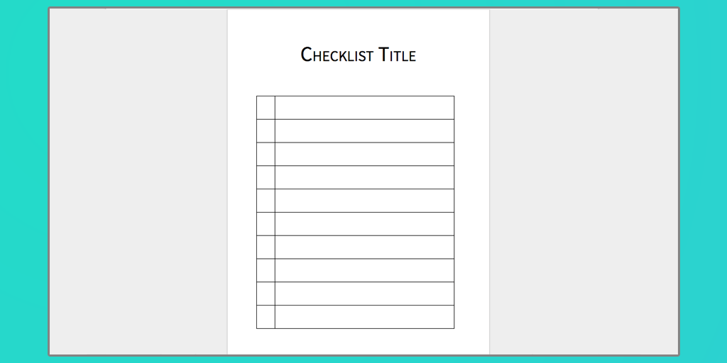checklist template ms word