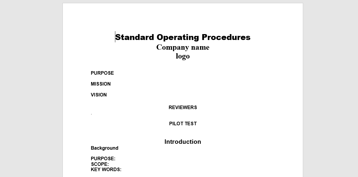electrical operational plan and policy template