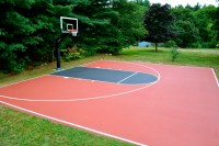 Very nice treed in backyard half court.