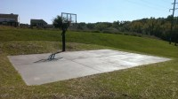 There's his system on his backyard concrete slab court.