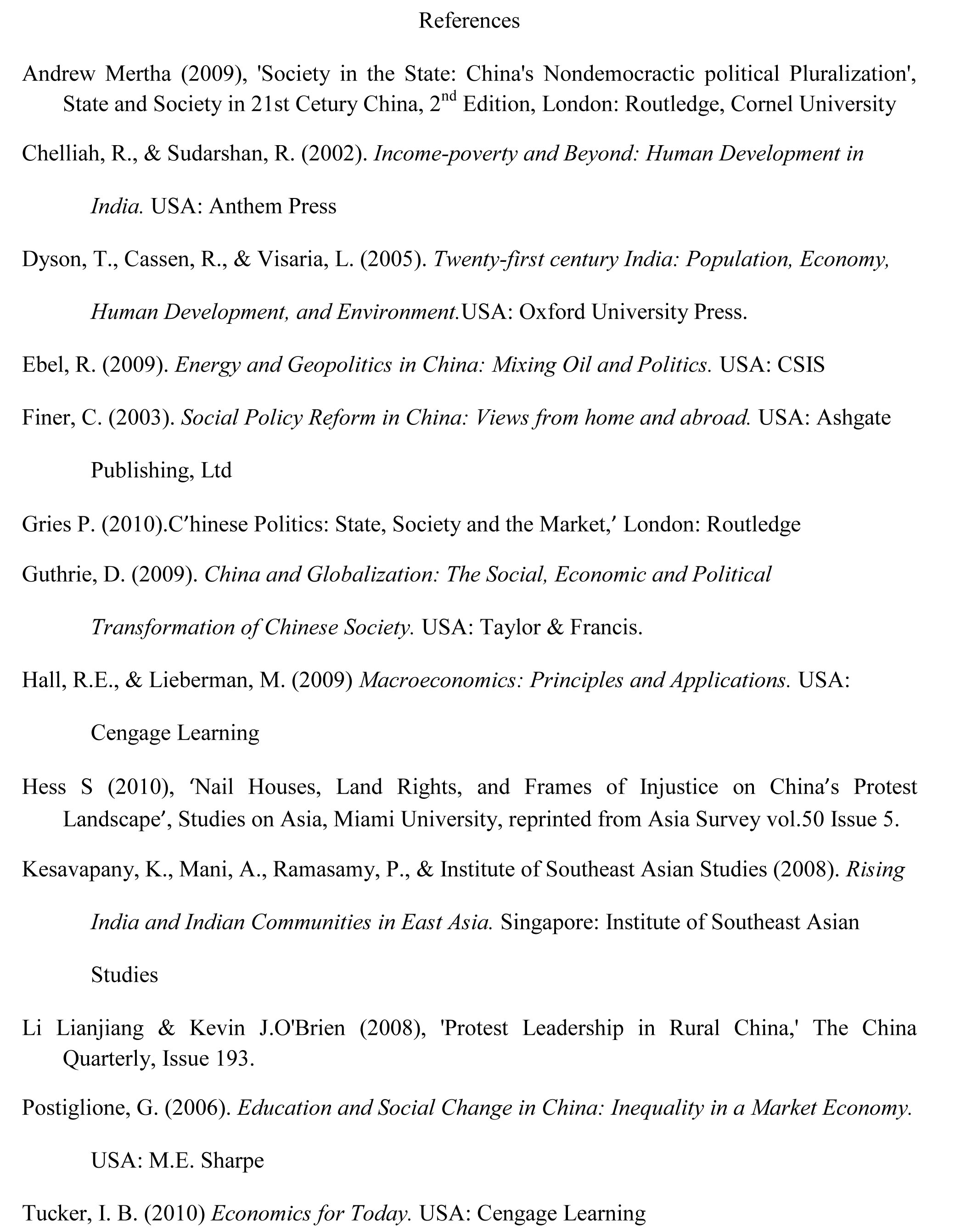 Cited Essay Example APA Reference List