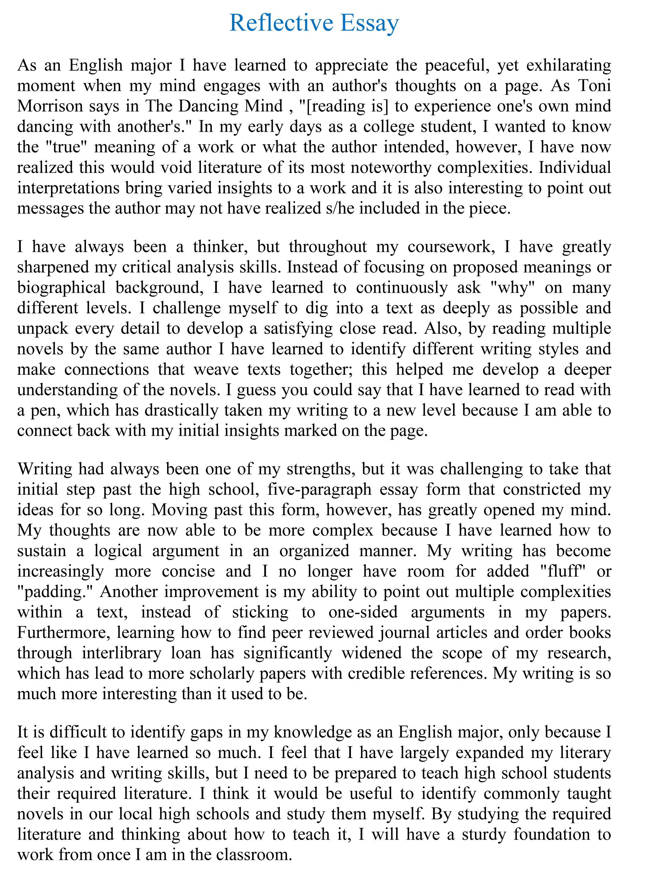 Essay Sample Writing Reflection Essay Example Pre Writing Essay ...