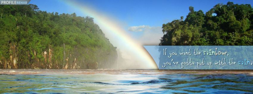 Rain Fall On Flowers Wallpaper Rainbow Quote Facebook Cover