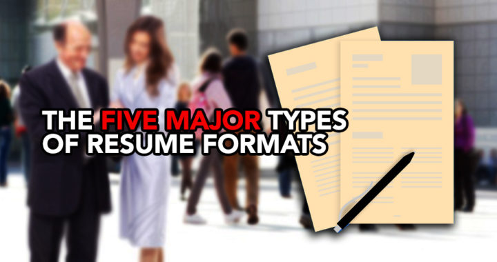 The five major types of resume format Profolus