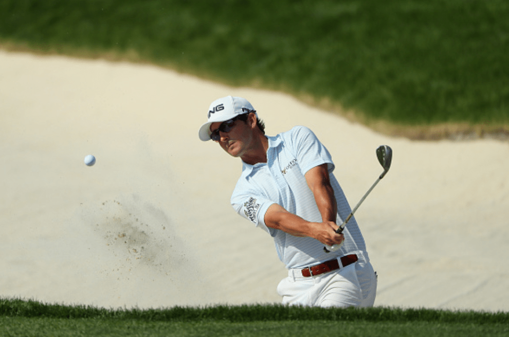 Andrew Landry is shown  hitting out of a bunker at the 2016 U.S. Open. His performance was one of the biggest surprises of the championship. Credit: Getty