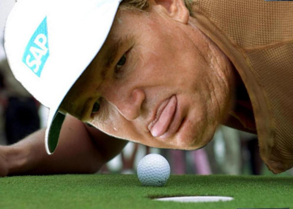 Ernie Els as Happy Gilmore was one of the many memes and GIFs which went viral following a 6 putt at Augusta. Credit: Salon