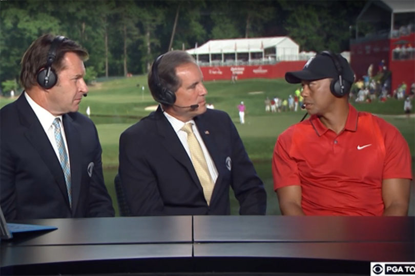 Tiger Woods told Jim Nantz and Nick Faldo of CBS that he's not ready yet. Credit: CBS Golf