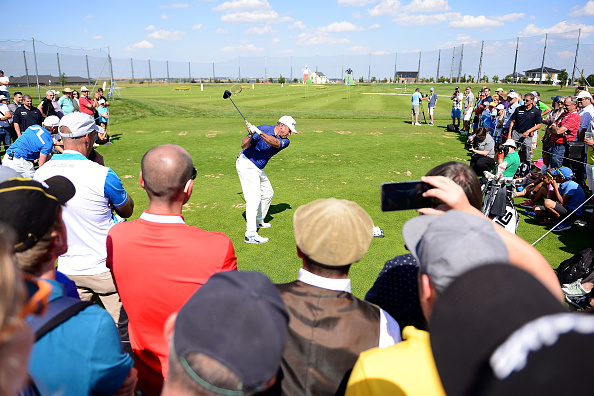 Lee Westwood of England gives a golf skills clinic for fans during the first round of the D+D REAL Czech Masters at Albatross Golf Resort on August 18, 2016 in Prague, Czech Republic. (Photo by Richard Martin-Roberts/Getty Images)