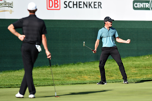 PRAGUE, CZECH REPUBLIC - AUGUST 21:  Paul Peterson of United States celebrates after holing his putt on the 18th hole to win the tournament during day four of the D+D REAL Czech Masters at Albatross Golf Resort on August 21, 2016 in Prague, Czech Republic.  (Photo by Richard Martin-Roberts/Getty Images)