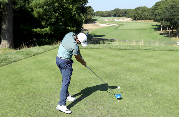 FARMINGDALE, NY - AUGUST 24:  Rory McIlroy of Northern Ireland in action during the pro-am as a preview for The Barclays in the PGA Tour FedExCup Play-Offs on the Black Course at Bethpage State Park on August 24, 2016 in Farmongdale, New York.  (Photo by David Cannon/Getty Images)
