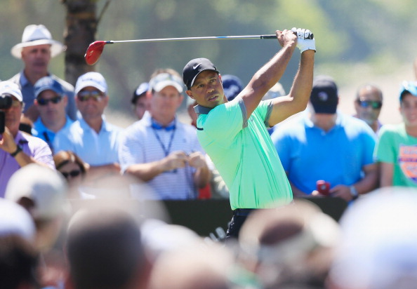 DORAL, FL - MARCH 08:  Tiger Woods takes a swing on the second tee box during the third round of the World Golf Championships-Cadillac Championship at Trump National Doral on March 8, 2014 in Doral, Florida.  (Photo by Jamie Squire/Getty Images)