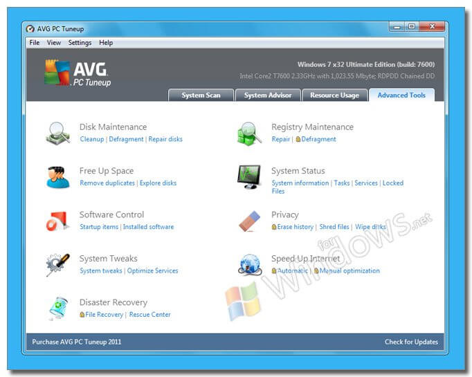 AVG PC Tuneup - Program de optimizare Wind