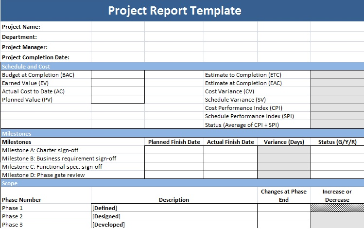 Description of Project Status Report Template - Project Management - project status sheet