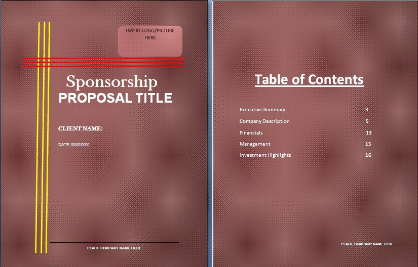 sponsorship proposal template word - sponsorship proposal template