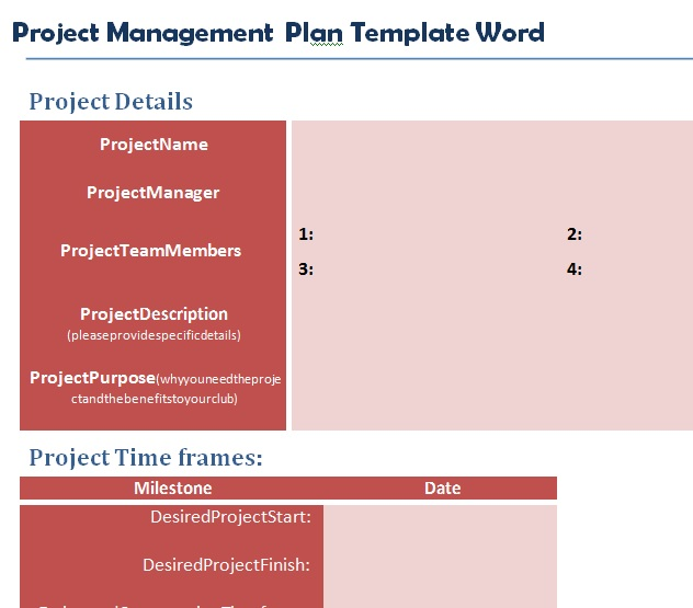 Professional Project Plan Template Word Projectemplates - project plan templates word